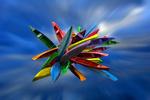 Обои Байдарки разной расцветки в беспорядке, by Martin Massari