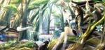 Обои Kitsune / Девушка лисичка сидит на корнях деревьев