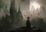Обои Жрец с окровавленным мечом, подняв руки вверх, стоит и смотрит на древний город в сумрачном тумане, арт к игре GODS / Боги, by Sergey Vasnev