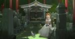 Обои Жрица Китсуне (девятихвостая лиса, екай) сидит возле святилища в окружении живых и каменных лис