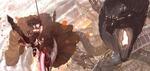 Обои Ruby Rose / Руби Роуз сражается с огромными монстрами из аниме RWBY / Красный, Белый, Черный, Желтый, art by Dishwasher1910