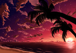 Обои Пальмы на побережье на фоне заката солнца