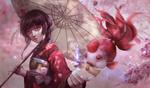 Обои Девушка в красном кимоно с зонтом, рядом с рукой рыбка, by Weichenstudio