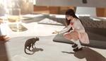 Обои Девушка в очках сидит перед кошкой, протянув к ней руку, by Rui Li