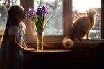 Обои Девочка стоит у стола с ирисами в вазе, на подоконнике окна сидит кошка. Фотограф Лилия Немыкина