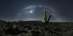Обои Кактусы, растущие в каменной долине, на фоне млечного пути в ночном лунном небе, Argentina / Аргентина, фотограф Gonzalo Javier Santile