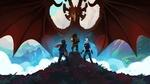 Обои Люди и эльф смотрят на дракона / Рейла, Калум и Эзран смотрят на дракона / The Dragon Prince