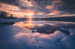 Обои Закат над озером в Ringerike, Norway / Рингерике, Норвегия, фотограф Ole Henrik Skjelstad