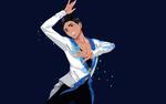 Обои Фигурист во время выступления, персонаж из аниме Юрий на льду! / Yuri on Ice!