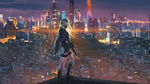 Обои AN 94 с автоматом (АН-94 Абакан) в руке стоит на крыше здания на фоне ночного города, персонаж из мобильной стратегической игры Girls Frontline, art by Wayne Chan