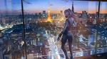 Обои AK 12 с ножом в одно руке и автоматом (АК-12 автомат Калашникова образца 2012 года) в другой, стоит напротив стеклянной панели высотного здания, персонаж из мобильной стратегической игры Girls Frontline, art by Wayne Chan