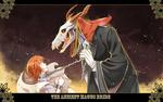 Обои Элиас Эйнсворт / Elias Ainsworth держит Чисэ Хатори / Chise Hatori за цепь на ошейнике из аниме Невеста чародея / Mahoutsukai no Yome