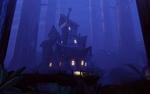 Обои Мрачный дом в ночном лесу, art by Robert Wilinski