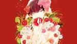 Обои Hakutaku / Хакутаку с букетом цветов на красном фоне из аниме Хладнокровный Хозуки / Hoozuki no Reitetsu