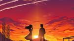 Обои Парень с девушкой на фоне заката