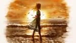 Обои Девочка стоит в воде на фоне заката
