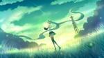 Обои Vocaloid Hatsune Miku / Вокалоид Хатсунэ Мику со светящимся шаром над ладонями, art by Sakakidani