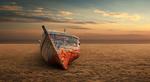 Обои Заброшенная лодка на песке, by Antonio Amati