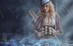 Обои Девушка в голубой шляпке с корабликом в руках на фоне книжных полок, работа фотографа Саврицкой Анастасии