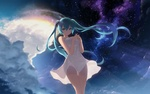 Обои Vocaloid Hatsune Miku / Вокалоид Хатсунэ Мику в белом платье на фоне ночного неба, art by Cait