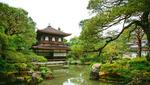 Обои Традиционный японский дом у пруда в зеленом парке, Japan / Япония