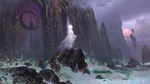 Обои Призрак девушки стоит на скалистом берегу бушующего моря у фантастических ворот в скале, арт к игре Destiny 2: Forsaken, by Sung Choi