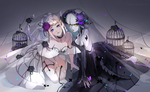 Обои Две девушки в белом и черном платье, by Marmaladica