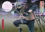 Обои Какаши Хатаке / Kakashi Hatake сражается ночью в полнолуние из аниме Наруто / Naruto