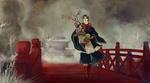 Обои Парень с саженцем цветущей сакуры идет по красному мосту через речку, Japan / Япония