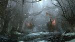 Обои Рыцари со знаменами и факелами едут на лошадях по мрачному зимнему лесу, by Zudarts Lee