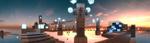 Обои Находящаяся где-то высоко в вечернем небе, постройка, похожая на прогулочную площадку, где можно было отдохнуть, расслабиться либо просто погулять, которая украшена огромными кубоблоками-монолитами, памятниками, а также приятным для глаз освещением