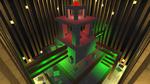 Обои Огромное строение из кубоблоков-монолитов, вокруг которого было приятное для глаз желтое и зеленое освещение, исходящее из встроенных в стену или подвешенных на нее светильников, а на крыше постройки был установлен единственный светильник, который светил красным светом