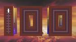 Обои Абстракция цифры сто, построенной из кубоблоков-монолитов, изображенной на фоне вечернего неба