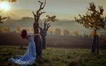 Обои Девушка в голубом платье стоит у дерева, фотограф Miss Froggi