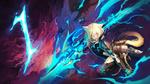 Обои Neko Girl / неко-девочка с оружием в грозовом небе с молниями, by art covent