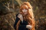 Обои Девушка с длинными рыжими волосами, фотограф Николай Смолянкин