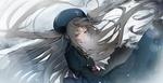 Обои Красноглазая девочка в берете с развивающимися длинными волосами