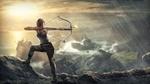 Обои Героиня приключенческого боевика Tomb Raider Лара Крофт в дождливую погоду с натянутым луком с горящей стрелой