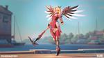 Обои Mercy / Ангел / Ангела Циглер из игры Overwatch / Дозор, by Renaud Galand