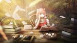 Обои Девушка читает книгу, сидя за столом, стоящем в лесу, в окружение белых совят