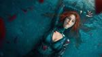 Обои Рыжеволосая кибер-девушка лежит в воде под дождем, by tian zi