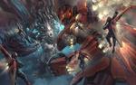 Обои Битва гигантского робота и The Queen Mother / Королевы-матери, by Isuardi Therianto