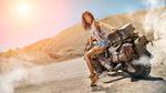 Обои Девушка - байкер на мотоцикле, автор bigdan