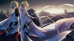 Обои Вампир Michaela Hyakuya / Микаэла Хакуя в двух обличиях на фоне разрушенного города из аниме Owari no Seraph / Последний Серафим
