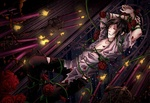 Обои Раненный Sebastian Michaelis / Себастьян Микаэлис, опутанный стеблями колючих роз, в окружении горящих свеч, аниме Темный Дворецкий / Black Butler / Kuroshitsuji