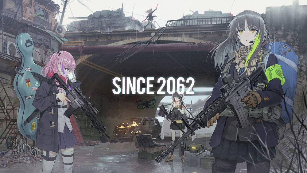 Обои для рабочего стола Девчонки с автоматами в руках патрулируют возле моста в центре города, персонажи из мобильной стратегической игры Girls Frontline