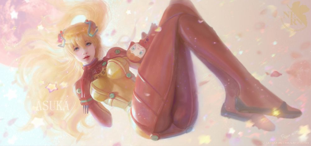 Обои для рабочего стола Asuka Langley / Аска Лэнгли из аниме Evangelion / Евангелион, by Ruoxin Zhang