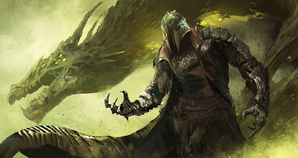 Обои для рабочего стола Воин и дракон в тумане, by fang xinyu