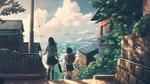 Обои Две девочки школьницы идут в школу по дороге, спускающейся вниз, на фоне живописного пейзажа