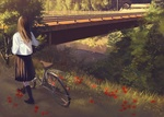 Обои Девушка идет по дороге с велосипедом к мосту через речку, где-то в сельской местности в Японии
